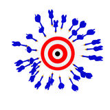 Darts and a target. Many dart arrwos around a target Royalty Free Stock Photography
