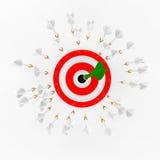 Darts and a target. Many dart arrwos around a target Stock Photos