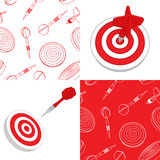 Darts target and seamless set Royalty Free Stock Images
