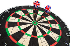 Darts in target on white background Stock Photography