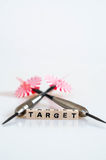 Darts Target. The word target written in cube letters and 3 darts on white backgound royalty free stock photo