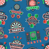 Darts tournament icons and badges seamless pattern Royalty Free Stock Photo
