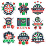 Darts tournament icons and badges for sport clubs. Royalty Free Stock Photos