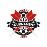 Darts tournament logo. Template for sport championship emblem with dart, dartboard and ribbon. Vector. Darts tournament logo. Template for sport championship stock illustration