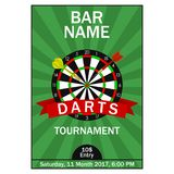 Darts tournament poster. Design template for championship sport invitation card with dart board and ribbon. Vector. Darts tournament poster. Design template for vector illustration