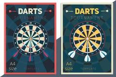 Darts tournament vector poster template design. Flat retro style Stock Photo