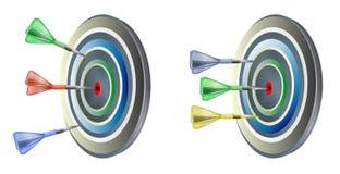 Dartscheibe mit farbigen Pfeilen lizenzfreie abbildung