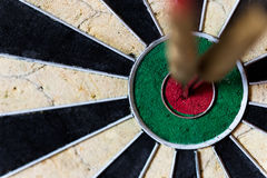 Darttavla med Steeldarts i bullseye Fotografering för Bildbyråer
