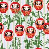 Daruma bamboo seamless pattern Royalty Free Stock Photography