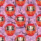 Daruma cherry seamless pattern Stock Image