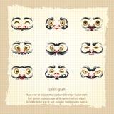 Daruma dolls cute emotional faces Stock Photos