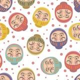 Daruma Dolls Seamless Pattern Stock Image