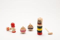 `Darumaotoshi`,`Kendama`,and `Koma` traditional Japanese toys Stock Photos