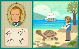 Darwin Adventure. Charles Darwin at the Galapagos Islands and the development of his theory of evolution. Eps10 Royalty Free Stock Photos