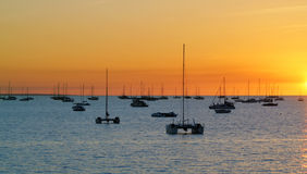 Darwin - Australia. Catamarans in a bay at sunset over sea. Darwin, Australia Stock Images