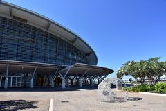 The world class Darwin Convention Centre. Darwin, Australia - Jun 17, 2018. The world class Darwin Convention Centre is an iconic landmark in the tropical stock images