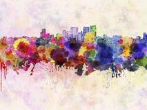 Darwin skyline in watercolor Royalty Free Stock Photo