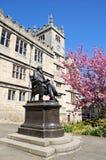 Darwin Statue e biblioteca, Shrewsbury fotografia de stock royalty free