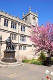 Darwin Statue and Library, Shrewsbury. Royalty Free Stock Photo