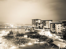 Darwin Waterfront at Sunset in black and white, Australia Royalty Free Stock Image