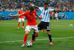 Daryl Janmaat and Marcos Rojo Coupe du Monde 2014 Stock Image