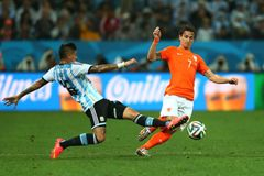 Daryl Janmaat and Marcos Rojo Coupe du Monde 2014 Royalty Free Stock Photos