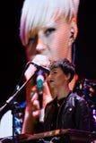 Daryna Sert, keyboardist and back vocalist of Onuka, at Roshen fountain opening, Vinnytsia, Ukraine, 29.04.2017, editorial photo. Daryna Sert, keyboardist and Stock Photo