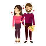 Das Ñ- ouple in der Liebe mit Blumen Lizenzfreies Stockfoto