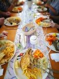 Das Abendessen Künstlerischer Blick in den Farben Stockbild