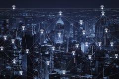 Das abstrakte Bild der Verbindungstechnologie des drahtlosen Netzwerks und des wifi stockbild