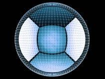 Das abstrakte Rednering 3d global schließen Netz an Stockbilder