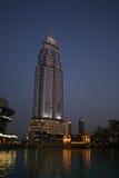 Das Adressen-Hotel, Dubai nachts Lizenzfreies Stockbild