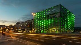 Das AEC in Linz in Oberösterreich - Österreich. Das Ars Electronica Center in Linz an der Donau erstrahlt in diesem Bild in grün zur blauen Stunde Royalty Free Stock Images