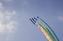 Das akrobatische Team frecce tricolori Stockfotografie