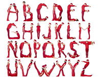 Das Alphabet bildete sich durch Menschen. Stockfoto