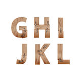 Das Alphabet, das von den hölzernen Stangen gemacht wurde, schloss an Metallplatten an Stockfotos
