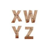 Das Alphabet, das von den hölzernen Stangen gemacht wurde, schloss an Metallplatten an Stockfotografie