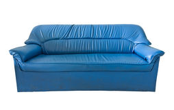 Das alte blaue lederne Sofa Lizenzfreies Stockfoto