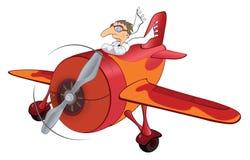 Das alte Flugzeug und der Pilot lizenzfreie abbildung