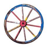 Das alte hölzerne Rad auf einem weißen Hintergrund lizenzfreie stockbilder