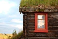 Das alte Haus mit einem Gras auf dem Dach in Norwegen Lizenzfreie Stockfotos
