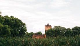 Das alte Schloss, das mit Kletterpflanzen bedeckt wird, steigt auf das Ufer O Stockfotografie