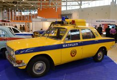 Das alte sowjetische Polizeiwagen GAZ-24 ` Volga-` Stockfotografie