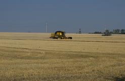 Das alte und neue Bauernhoffahrzeug sammelt Getreide Stockfoto