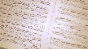 Das alte weiße Klavier mit Anmerkungen und Blumen stock video