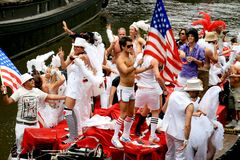 Das amerikanische Boot (Kanal-Parade Amsterdam 2008) Lizenzfreie Stockbilder