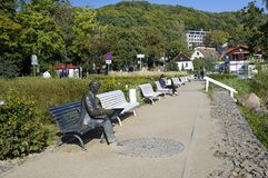 Das Antoni Suchanek-Monument in einem Park in Orlowo, Gdynia, Polen Lizenzfreie Stockfotos