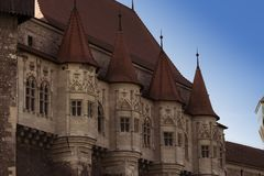 Das Architekturdetail von Corvin-Schloss, Hunyadi-Schloss, Hunedoara-Schloss lizenzfreies stockfoto