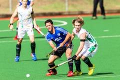 Das Argentinien der Hockey-Männer spielt Südafrika Stockfotos