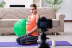 Das Aufnahmevideo der schwangeren Frau für Blog und vlog Stockfotos